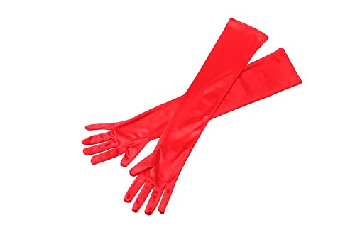[Red Long Satin Elegant Vintage Opera Party Gloves- Vixen Red] (Cruella Deville Costume Coat)