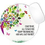 Matthew 11:28 Bible Verse Pink Colorful Tree Mouse Pad (ROUND)