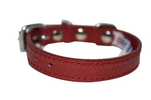 """Leather Dog Collar, Padded, 10"""" x 1/2"""", Red, Leather (Alp..."""