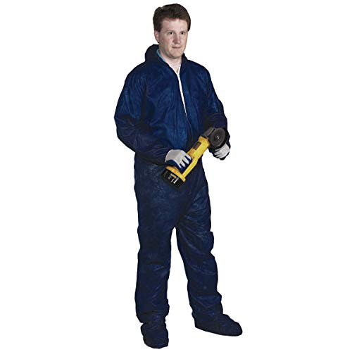 Radnor Large Blue Spunbond Polypropylene Disposable Coveralls With Front Zipper Closure And Attached Hood And Boots, Package Size: 1 Each