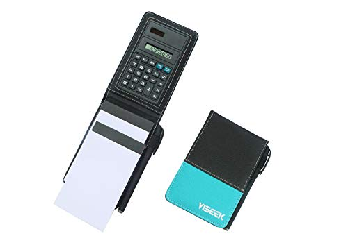 YISEEK Pocket Memo Pad Cover,Mini Business Notepad Holder Set,Small Flip Jotter Notebook Case,Includes 2 Note Pads and Pen & Calculator.