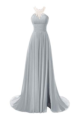 Princess Women's Beaded Halter Chiffon Prom Dress Long Split Evening Gowns Formal Silver 14