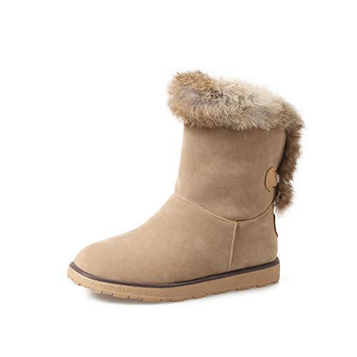HAOLIEQUAN Winter Stiefel Damen Schuhe Schnee Stiefel Damen Halbstiefel Innen Warm Keile Ferse Größe 34-43 Halten