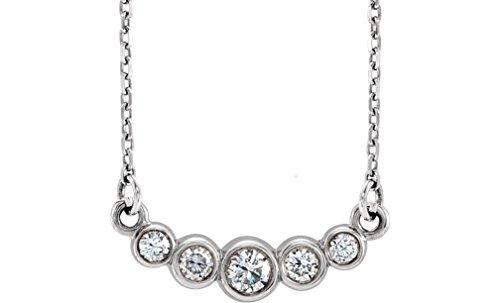 "Platinum Graduated Bezel Set Diamond Necklace, 16-18"" (1/5 Ctw, Color G-H, Clarity SI2-SI3)"