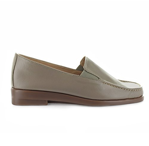 Joan Vass Womens Mary Leather Loafer With 1 Inch Heel (See More Colors and Sizes) Taupe 9xuC4KUiFJ