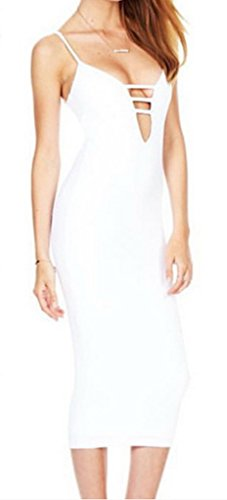 Donne Vestito Sera Bodycon Delle V Cocktail Ru Xiang Bianco Del Bretelle Da Collo gwT1Sqxz