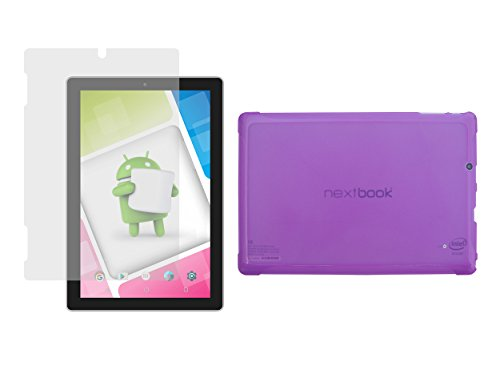 """Nextbook Ares 10A Purple TPU Case + Screen Protector- iShoppingdeals Ultra–Slim TPU Rubber Gel Cover with Textured, Non-Slip Grip for Nextbook Ares 10A 10.1""""(NX16A10132S) Tablet 2016 Release"""