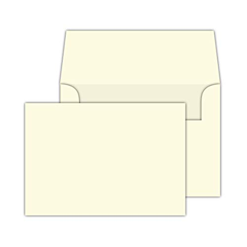 Cream/Natural/Off White, Heavy Blank Note Cards and Envelopes Size 5 X 7-50 Per Pack. - This Is Not a Fold Over Card. (Ivory) ()