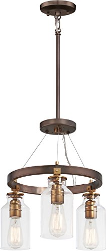 Minka Lavery Farmhouse Semi Flush Mount Ceiling Light 4553-588 Morrow Lighting Fixture, 3-Light, Harvard Court Bronze w/Gold Highlights