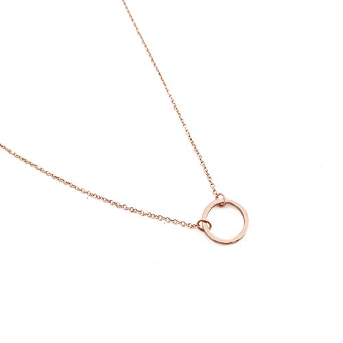 Fremttly Womens Simple Delicate Handmade 14k Gold Fill Dainty Choker Circle Necklace Thin Open Circle Chain Choker Necklace-CK1-S-Rose