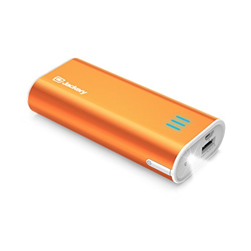 Jackery Portable Travel Charger Bar 6000mAh Pocket-sized Ultra Compact External Battery Power Bank Fast Charging Speed with Emergency Flashlight for iPhone, Samsung and Others - Orange (Backup Iphone)