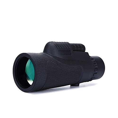 Monocular Telescope, 12X50 HD Low Night Vision Waterproof- Shockproof High Power Monocular and Quick Cell Phone Adapter, Tripod Holder for Bird Watching Hunting Camping Hiking Travelling Secen (black)