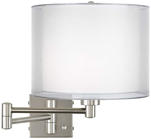 Double Sheer Silver Brushed Nickel Swing Arm Wall Lamp - Possini Euro Design