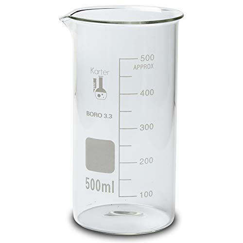 213F14 Karter Scientific 500ml Glass Tall Form Griffin Beaker