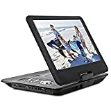 ZEROXCLUB 14-inch Portable DVD Player, Swivel Screen with 4 Hours Rechargeable Battery, Region-Free HD Video Player for Kids, Support SD Card/USB Port (Black)
