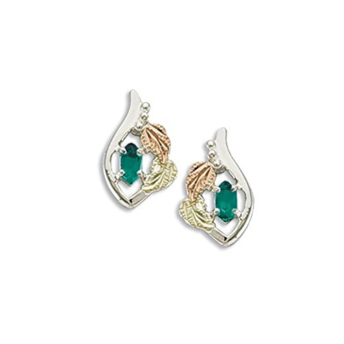 Created Soude Emerald Marquise May Birthstone Earrings, Sterling Silver, 12k Green and Rose Gold Black Hills Gold Motif