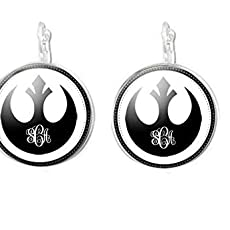 Rebel Alliance Monogram Silver Plated Leverback Earrings or Clip-on