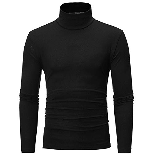 Fmeijia Men Cotton T Shirts Autumn Winter High Neck Long Sleeve Basic Turtleneck T-shirt For Men