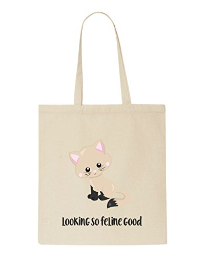 Cute Cat So Feline Statement Shopper Looking Tote 7 Good Bag Beige wRRSOXraq
