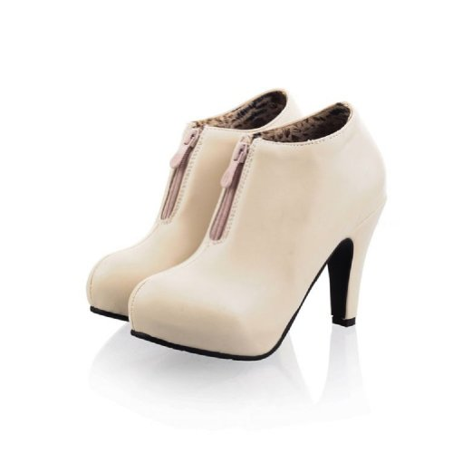 Charm Foot Fashion Womens High Heel Ankle Boots Short Boots Beige UGbM1LVyaB