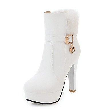 RTRY Zapatos De Mujer Pu Novedad Moda Otoño Invierno Confort Botas Botas Bota Chunky Talón Señaló Toe Botines/Botines De Cremallera Remache US9 / EU40 / UK7 / CN41