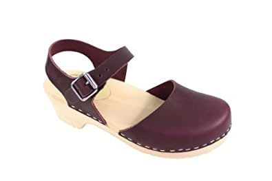 Lotta From Stockholm Low Wood Low Heel Clogs in Aubergine Leather US 7.5 EUR 38