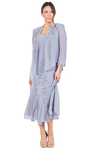 R&M Richards Long Mother of The Bride Dress Made in USA (Periwinkle Blue Mother Of The Bride Dresses)