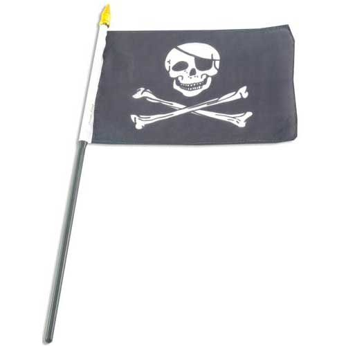 US Flag Store Pirate Jolly Roger Hand Flag, 4 by 6-Inch