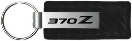 Au-Tomotive Gold INC Nissan 370Z Black Carbon Fiber Texture Leather Key Chain