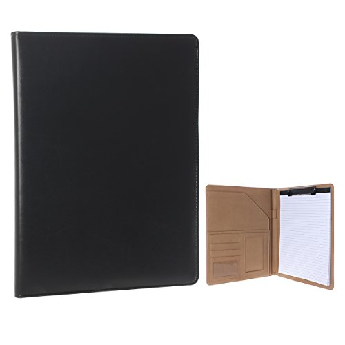 Geila Business PU Leather Resume Storage Clipboard Folder Portfolio Padfolio, Interview/ Legal Document Organizer & Business Card Holder for Office Conference (Black) - Leather Legal Document