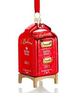 Macy's Yes Virginia 2011 Glass Mailbox Christmas Ornament by - Virginia Macy's