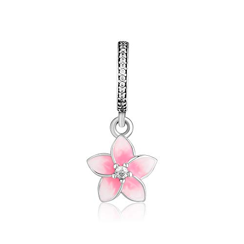 (CKK Pink Petal Flower Dangle Charm 925 Sterling Silver Jewelry Fit for Pandora Bracelet Pendant Necklace)