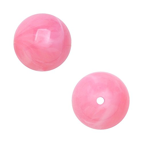 - Vintage German Lucite, Smooth Round Beads 16mm, 12 Pieces, Marbled Pink