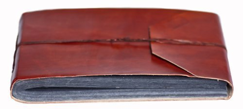INDIARY Genuine Buffalo Leather Photo Album Scrapbook with Handmade Paper 10x7 Inch - Simple And Noble -G-Blank-Brown Leather Scrapbook Album
