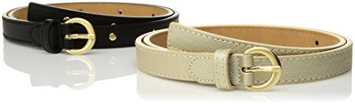 Anne Klein Belt (AK Anne Klein Women's 19mm Duo Studded AND Solid Accessory, -black/gold, Xlarge)