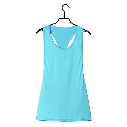 sportivo donna Fitness maniche Gym Camicetta Gilet da Donna Gilet Top Gilet Run Camicie Senza sportivo Loose Rovinci Gym Azzurro Summer Allenamento corsa Allattamento OdRq6wf