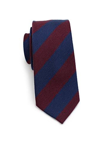 (Bows-N-Ties Men's Necktie Modern Striped Skinny Wool Matte Tie 2.75 Inches (Navy and Burgundy))