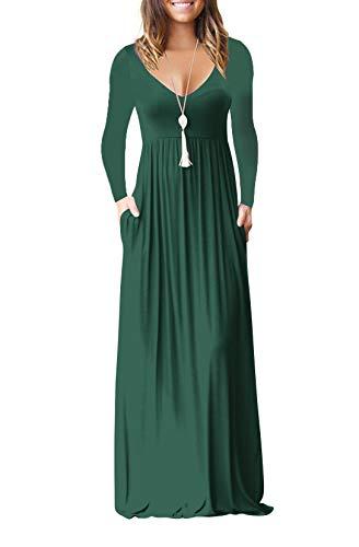 MELANSAY Maxi Dresses for Women, Deep V Neck Womens Long Sleeve Loose Plain Long Maxi Casual Dresses Pockets Jade (Pocket Jade Green)