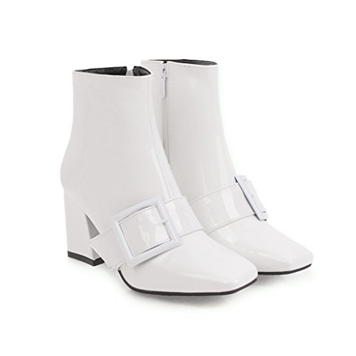 CXQ-Heels qin&X Women's Block Square Head Short Ankle Boots Shoes White Y4eqy