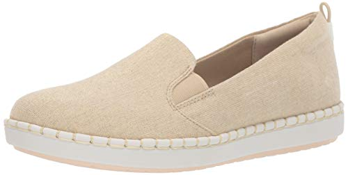 CLARKS Women's Step Glow Slip Loafer Flat Soft Gold Canvas 065 M US