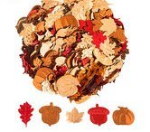 Fall Table Scatter Confetti Metallic Leaves, Pumpkins and Acorns Party Supplies