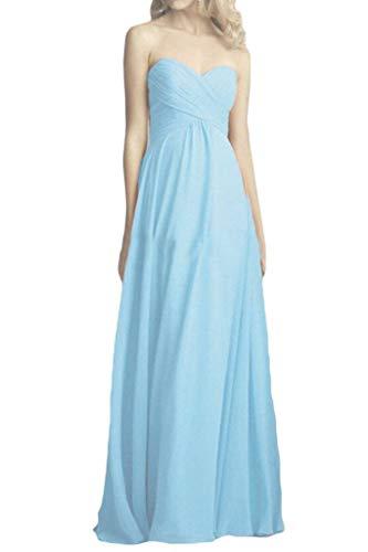 Herzausschnitt Himmel Chiffon Partykleider Brautjungfernkleider Elegant La Braut Bodenlang A mia Abendkleider Linie Blau qyptqIP