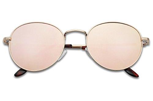 SunglassUP - Colorful Classic Vintage Round Flat Lens Lennon Style Sunglasses (Gold Frame | Rose Gold Pink, - Round Rose Gold Sunglasses