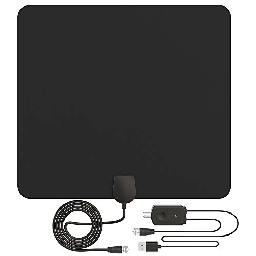 [2018 Upgraded] HDTV Antenna, Amplified HD Digital TV Antenna Indoor 60-80 Mile Range High-Definition with Amplifier Signal Booster for 4K 1080P Free TV Local Channels, 9.8ft Coaxial Cable