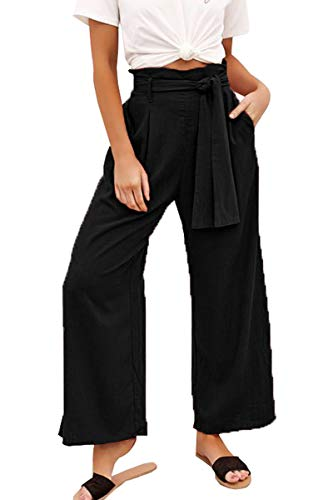 - Belypoe Woman's Cropped Palazzo Pants Fashion Wide Leg Flowy Casual Pants Black S