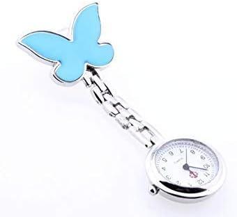 TOOGOO(R) Montre Infirmiere Bleu Clair Mouvement a Quartz Alliage Papillon Attache Epingle