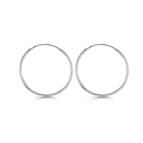 Amberta 925 Sterling Silver Fine Circle Endless Hoops - Polished Round Sleeper Earrings Diameter Size: 20 30 40 60 80 mm (30mm)