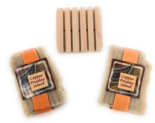 Copper Paisley (Bar Soap with Olive Oil and Colloidal Oatmeal, Clove Renew! 2 Bars and Pallet, by Copper Paisley Select)