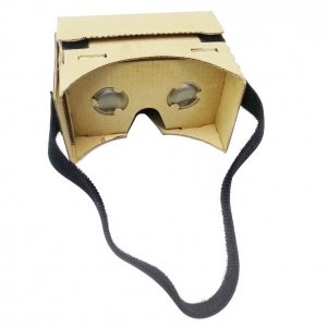DIY Cardboard Magnetic Sensor Virtual Reality VR Glasses with Head Strap for 4-6 Smartphone Khaki