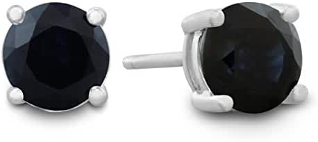 Sterling Silver Natural Sapphire Stud Earrings 4mm 1/2 Carat Total Weight